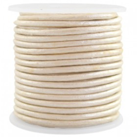 DQ leer rond 2 mm Champagne beige