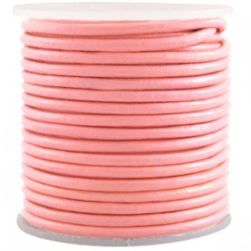 DQ leer rond 2 mm Licht paparacha roze rood