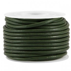 DQ leer rond 2 mm Army green