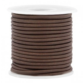DQ leer rond 2 mm Dark brown - vintage finish