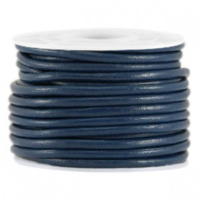DQ leer rond 3 mm Donker blauw