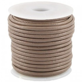 DQ leer rond 2 mm Taupe grey brown