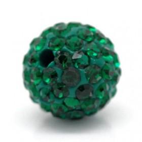 Czech rhinestone beads 10mm Emerald green