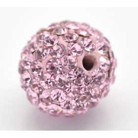 Czech rhinestone beads 10mm Pink