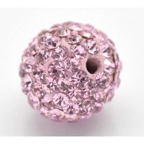 Czech rhinestone beads 10mm Pink
