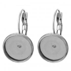 RVS oorhangers met Cabochon Settings voor Ø12  Silver Tone
