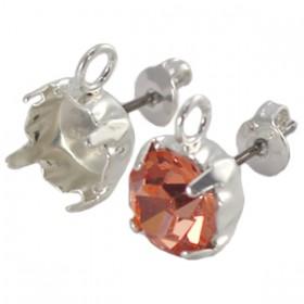 DQ oorstekers voor puntsteen ss29 met oog Silver plated
