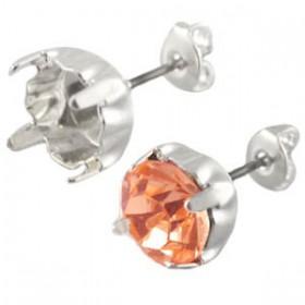 DQ oorstekers voor puntsteen ss29 Silver plated