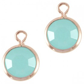 DQ facethanger Rosé goud Licht turquoise blauw opal