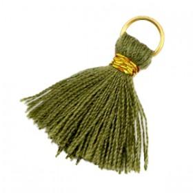 Kwastjes 1.8cm Goud Army groen