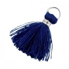 Kwastjes 1.8cm Zilver Donker blauw