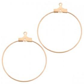 Onderdelen DQ metaal creool oorring hanger 30mm Rosé goud (nikkelvrij)