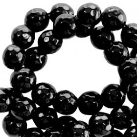 Natuursteen  rond 8mm facet geslepen Zwart