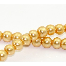 Glaskraal pearl Gold 6mm