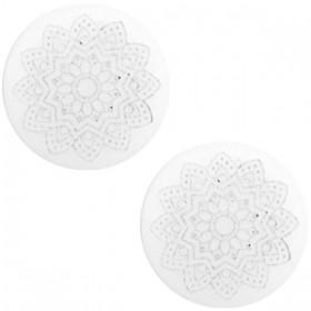 20 mm platte cabochon Polaris Elements Mandala print matt White