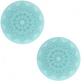20 mm platte cabochon Polaris Elements Mandala print matt Haze blue