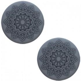 20 mm platte cabochon Polaris Elements Mandala print matt Rustic blue