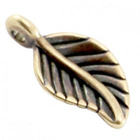 DQ metaal bedel blaadje Antiek brons (nikkelvrij)