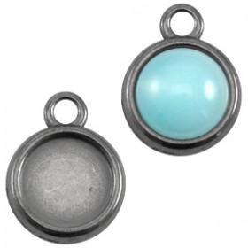 DQ metaal setting rond 1 oog Zilver antraciet