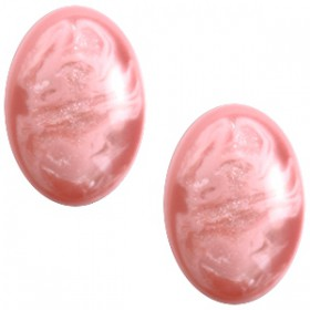 Polaris cabochon ovaal 13x18mm Pearl shine Jais  Lilac snow pink