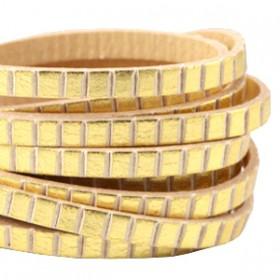 DQ leer suède plat 5mm blocks Gold - beige