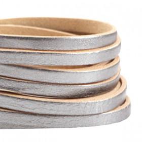 DQ leer suède plat 5mm enkel Antiek zilver - beige
