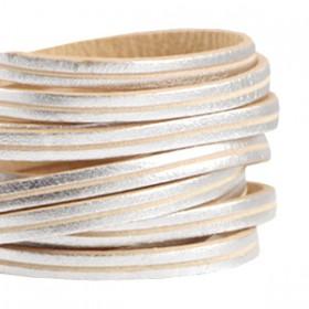 DQ leer suède plat 5mm 2s Zilver - beige