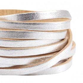 DQ leer plat 5mm enkel Zilver - beige