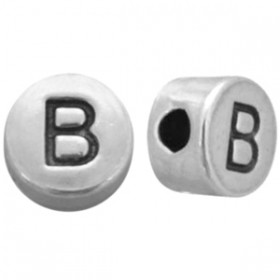DQ metaal letterkraal  B antiek zilver