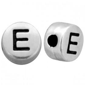 DQ metaal letterkraal  E antiek zilver