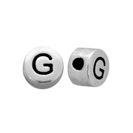 DQ metaal letterkraal  G antiek zilver