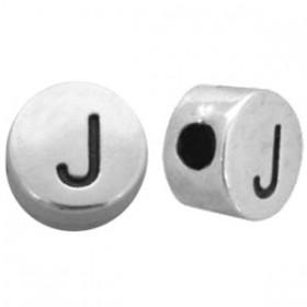 DQ metaal letterkraal J antiek zilver