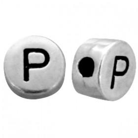 DQ metaal letterkraal P antiek zilver