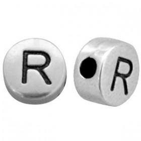 DQ metaal letterkraal R antiek zilver