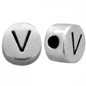 DQ metaal letterkraal V antiek zilver