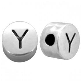 DQ metaal letterkraal Y antiek zilver