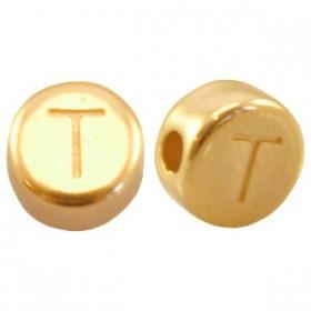 DQ metaal letterkraal T Goud
