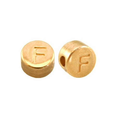 DQ metaal letterkraal F Goud