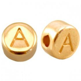 DQ metaal letterkraal A Goud