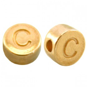DQ metaal letterkraal C Goud