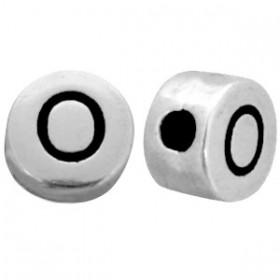 DQ metaal letterkraal O antiek zilver