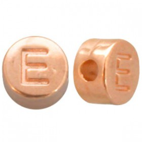DQ metaal letterkraal E Rosé goud