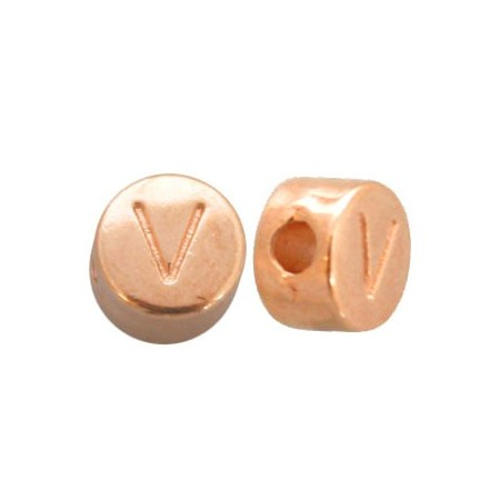 DQ metaal letterkraal V Rosé goud