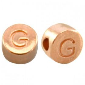 DQ metaal letterkraal G Rosé goud