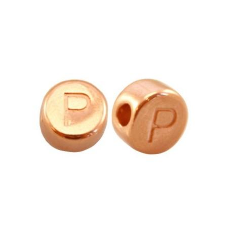 DQ metaal letterkraal P Rosé goud