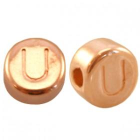 DQ metaal letterkraal U Rosé goud