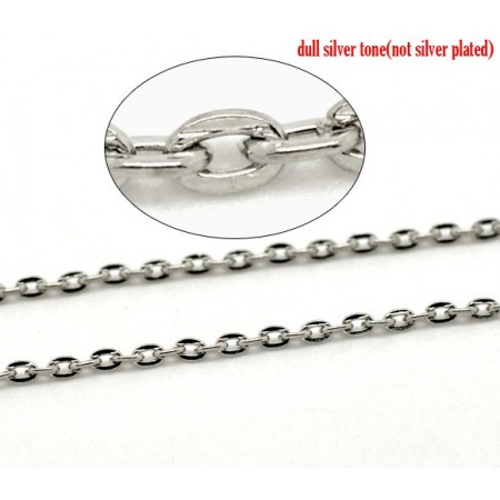Basic quality ketting met open links silver plated