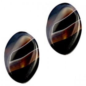 Half edelsteen kralen ovaal Black-brown opal