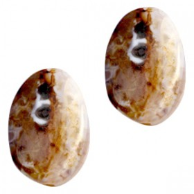 Half edelsteen kralen ovaal Light blue-brown opal