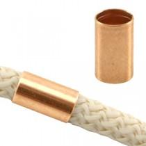 DQ metaal tube voor 5 mm koord Rosé goud